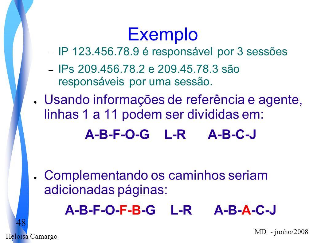 Heloisa Camargo 48 MD - junho/2008 Exemplo – IP 123.456.78.9 é responsável por 3 sessões – IPs 209.456.78.2 e 209.45.78.3 são responsáveis por uma ses