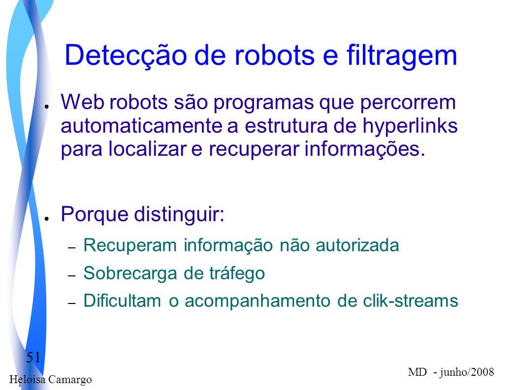Heloisa Camargo 51 MD - junho/2008 Detecção de robots e filtragem Web robots são programas que percorrem automaticamente a estrutura de hyperlinks par
