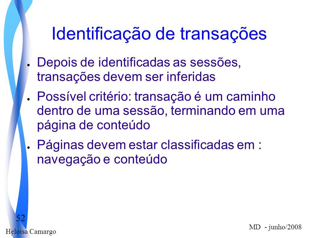 Heloisa Camargo 52 MD - junho/2008 Identificação de transações Depois de identificadas as sessões, transações devem ser inferidas Possível critério: t