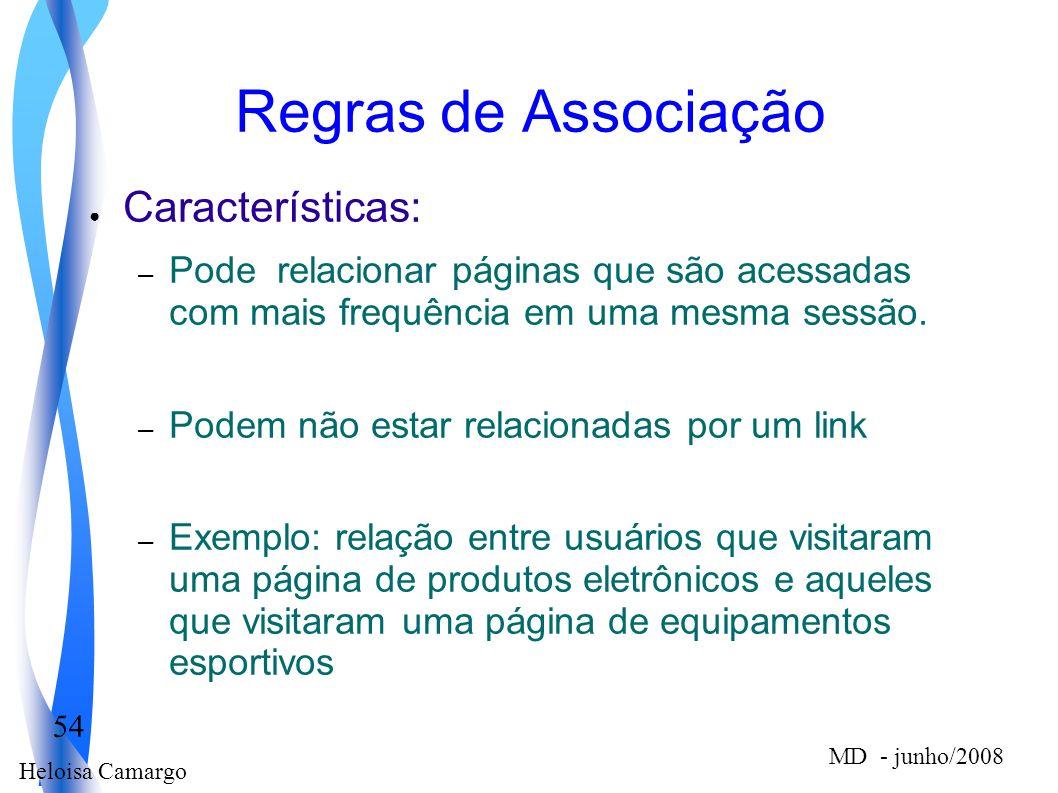 Heloisa Camargo 54 MD - junho/2008 Regras de Associação Características: – Pode relacionar páginas que são acessadas com mais frequência em uma mesma