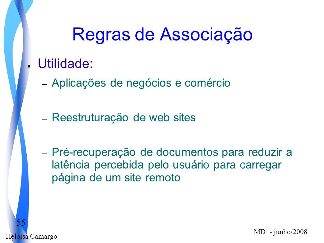 Heloisa Camargo 55 MD - junho/2008 Regras de Associação Utilidade: – Aplicações de negócios e comércio – Reestruturação de web sites – Pré-recuperação