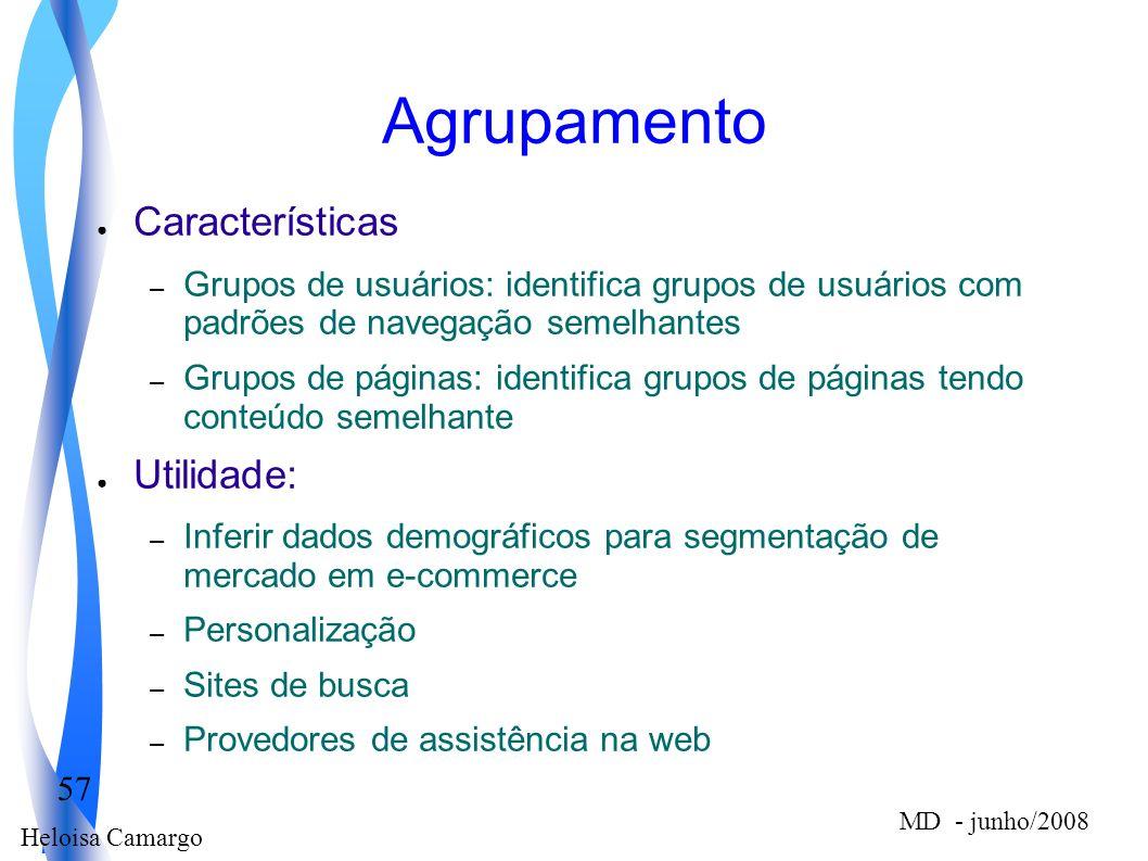 Heloisa Camargo 57 MD - junho/2008 Agrupamento Características – Grupos de usuários: identifica grupos de usuários com padrões de navegação semelhante