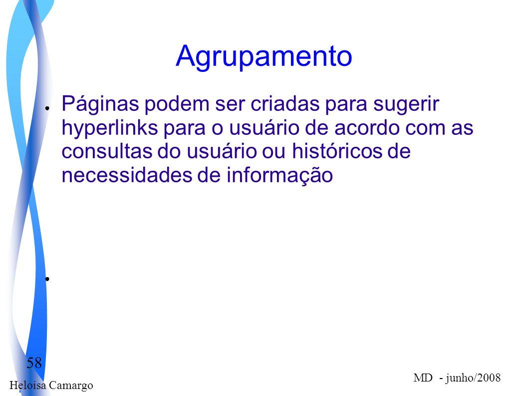 Heloisa Camargo 58 MD - junho/2008 Agrupamento Páginas podem ser criadas para sugerir hyperlinks para o usuário de acordo com as consultas do usuário