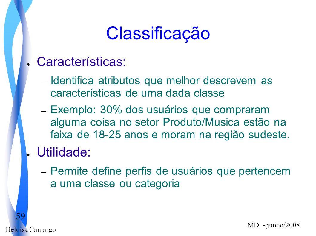 Heloisa Camargo 59 MD - junho/2008 Classificação Características: – Identifica atributos que melhor descrevem as características de uma dada classe –