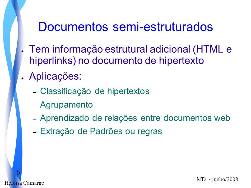 Heloisa Camargo 6 MD - junho/2008 Documentos semi-estruturados Tem informação estrutural adicional (HTML e hiperlinks) no documento de hipertexto Apli