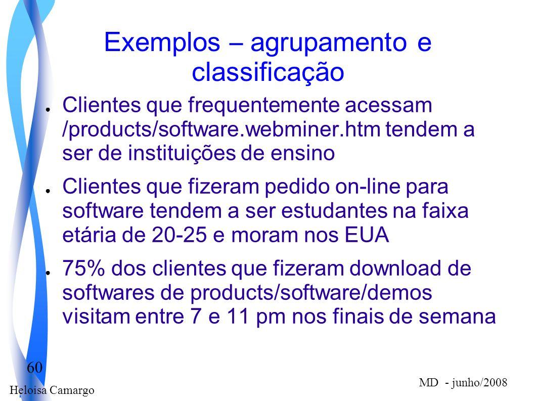 Heloisa Camargo 60 MD - junho/2008 Exemplos – agrupamento e classificação Clientes que frequentemente acessam /products/software.webminer.htm tendem a