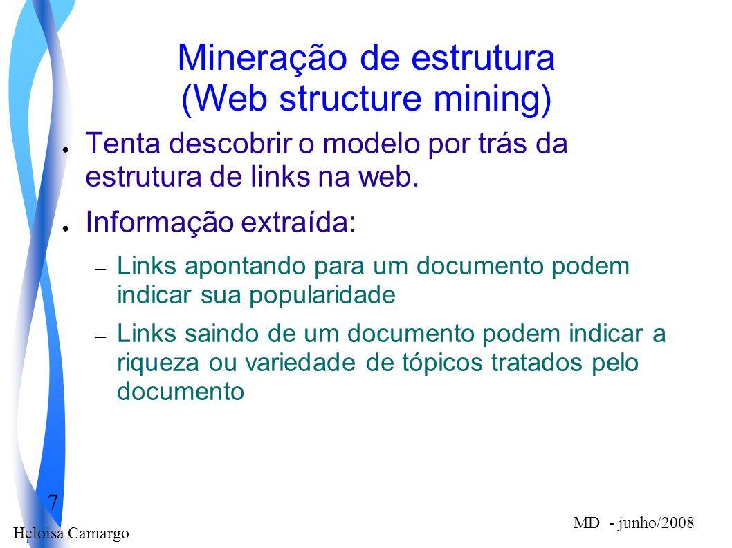 Heloisa Camargo 7 MD - junho/2008 Mineração de estrutura (Web structure mining) Tenta descobrir o modelo por trás da estrutura de links na web. Inform