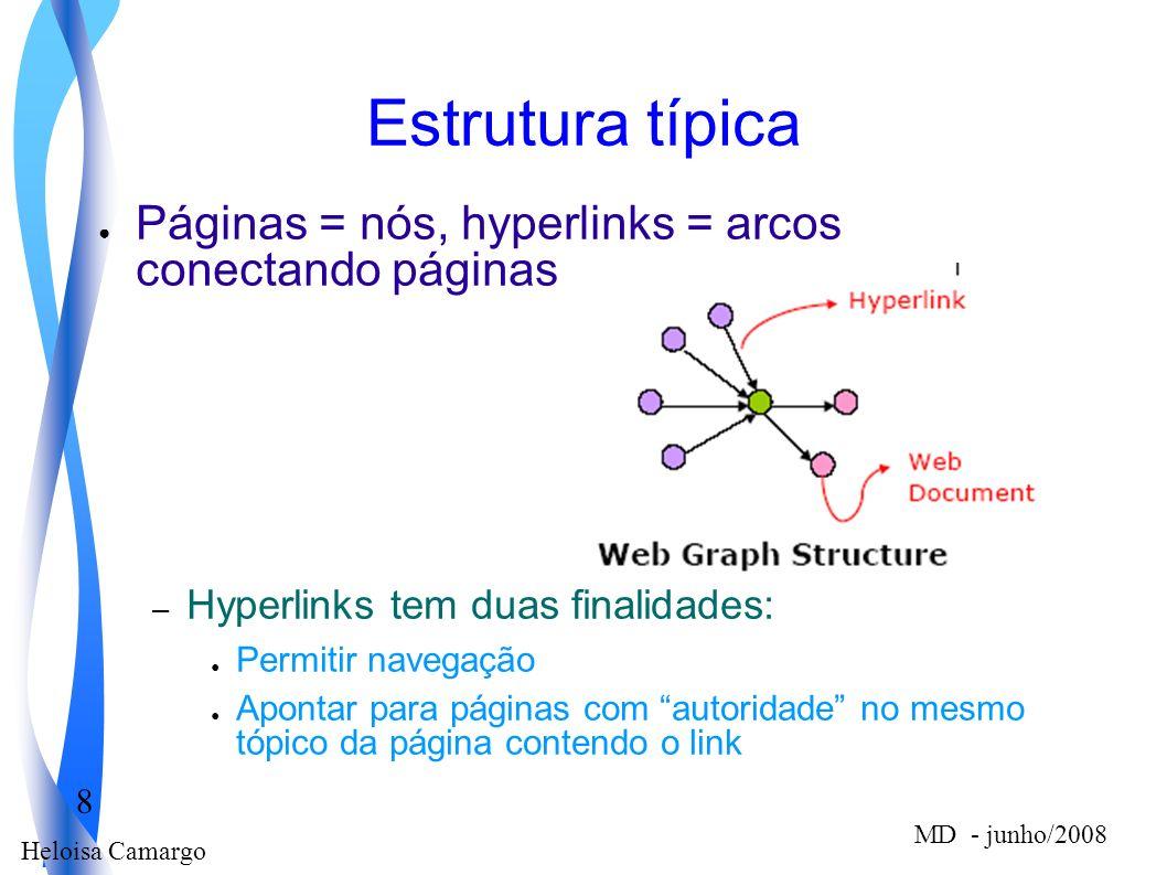 Heloisa Camargo 8 MD - junho/2008 Estrutura típica Páginas = nós, hyperlinks = arcos conectando páginas – Hyperlinks tem duas finalidades: Permitir na
