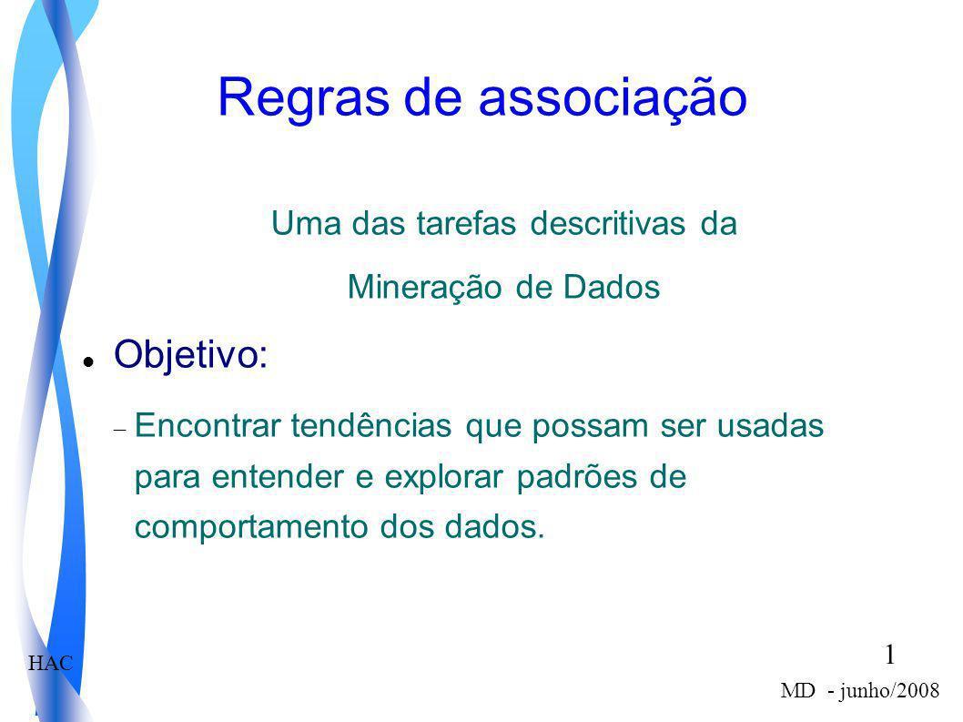 HAC 1 MD - junho/2008 Regras de associação Uma das tarefas descritivas da Mineração de Dados Objetivo: Encontrar tendências que possam ser usadas para
