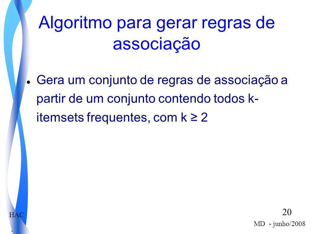 HAC 20 MD - junho/2008 Algoritmo para gerar regras de associação Gera um conjunto de regras de associação a partir de um conjunto contendo todos k- it