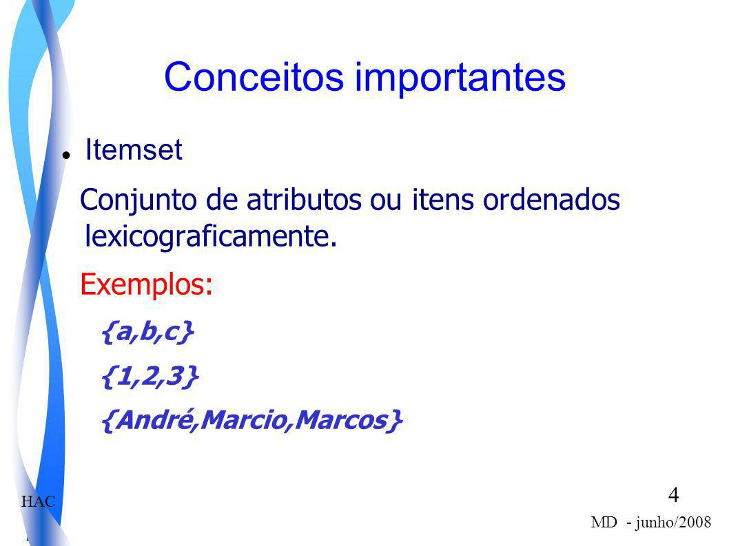HAC 5 MD - junho/2008 Regra de Associação Definição Seja D uma Base de Dados composta por um conjunto de itens A = {a 1,a 2,...,a m } ordenados lexicograficamente e por um conjunto de transações T={t1,t2,..,tn}, em que, cada transação t i é composta por um conjunto de itens tal que t i está contido em A