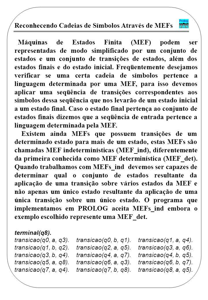 Reconhecendo Cadeias de Símbolos Através de MEFs Máquinas de Estados Finita (MEF) podem ser representadas de modo simplificado por um conjunto de esta