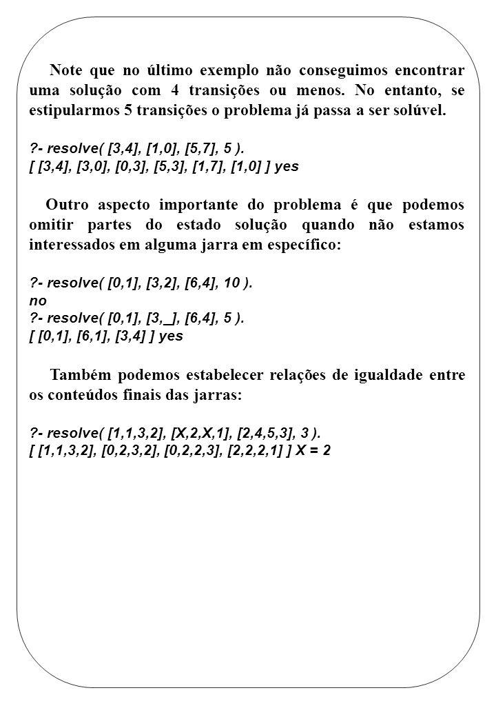 Note que no último exemplo não conseguimos encontrar uma solução com 4 transições ou menos. No entanto, se estipularmos 5 transições o problema já pas