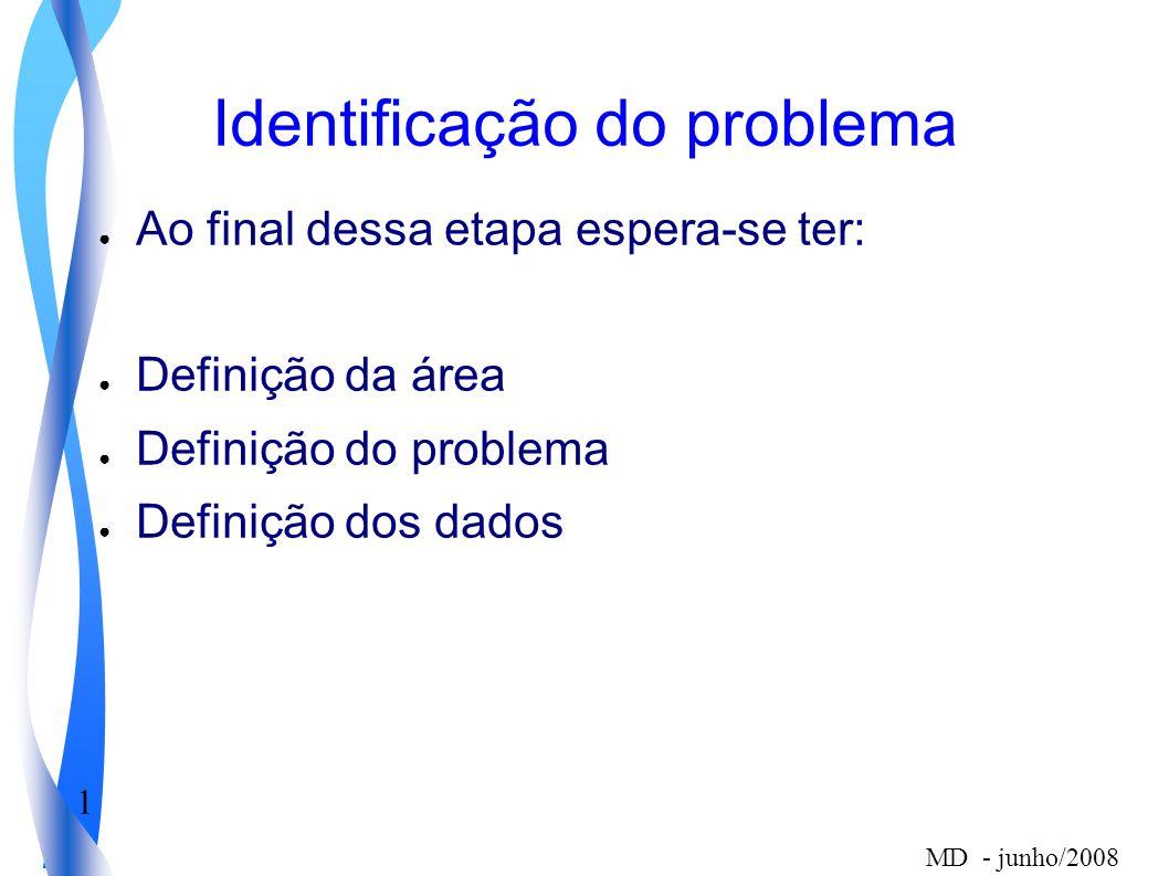 1 MD - junho/2008 Identificação do problema Ao final dessa etapa espera-se ter: Definição da área Definição do problema Definição dos dados