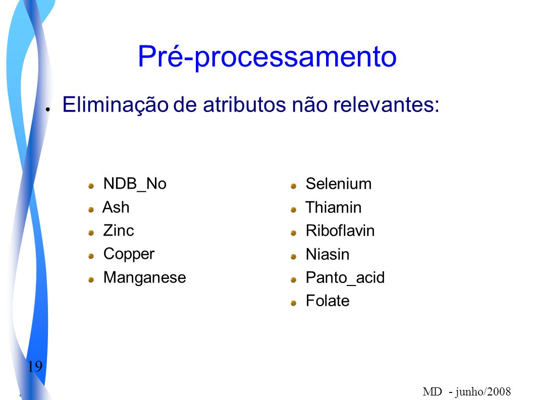 19 MD - junho/2008 Pré-processamento Eliminação de atributos não relevantes: Selenium Thiamin Riboflavin Niasin Panto_acid Folate NDB_No Ash Zinc Copper Manganese