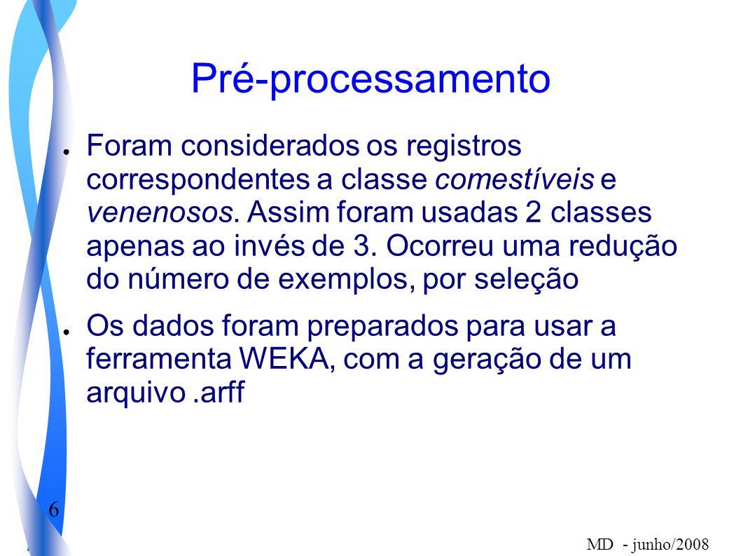 6 MD - junho/2008 Pré-processamento Foram considerados os registros correspondentes a classe comestíveis e venenosos. Assim foram usadas 2 classes ape