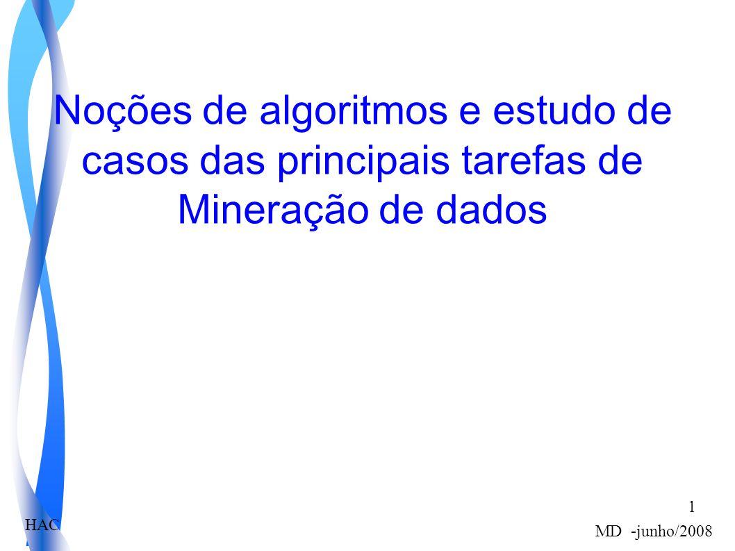 HAC MD -junho/2008 1 Noções de algoritmos e estudo de casos das principais tarefas de Mineração de dados