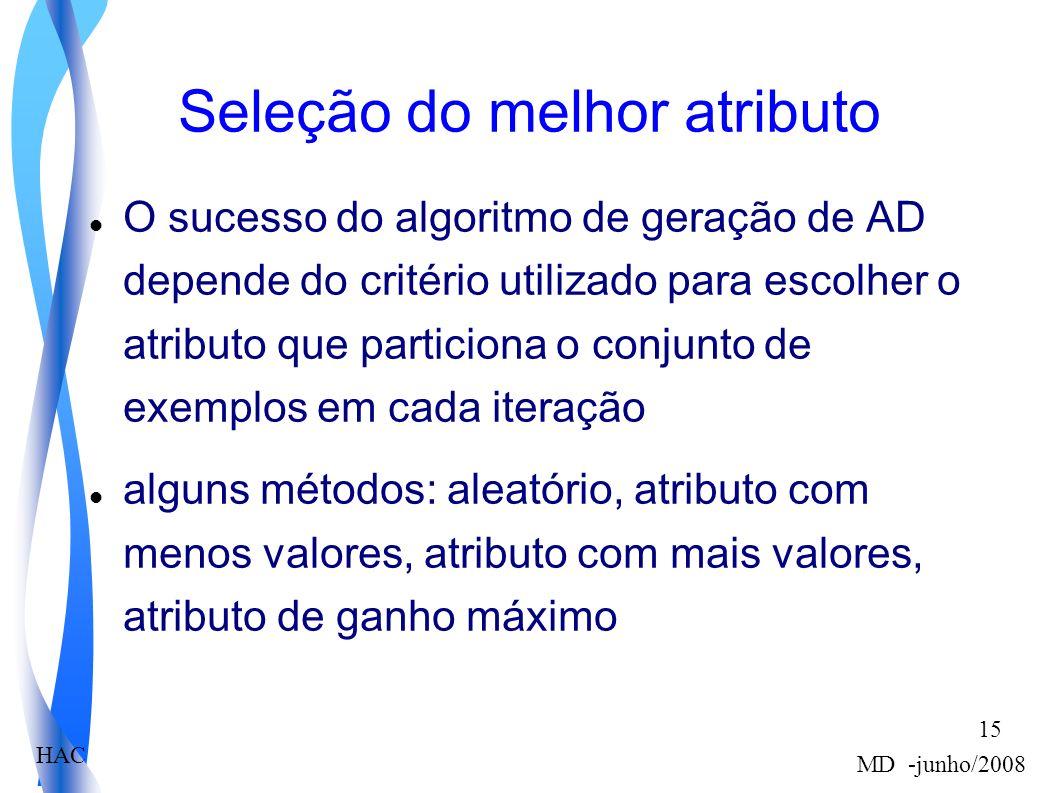 HAC MD -junho/2008 15 Seleção do melhor atributo O sucesso do algoritmo de geração de AD depende do critério utilizado para escolher o atributo que particiona o conjunto de exemplos em cada iteração alguns métodos: aleatório, atributo com menos valores, atributo com mais valores, atributo de ganho máximo