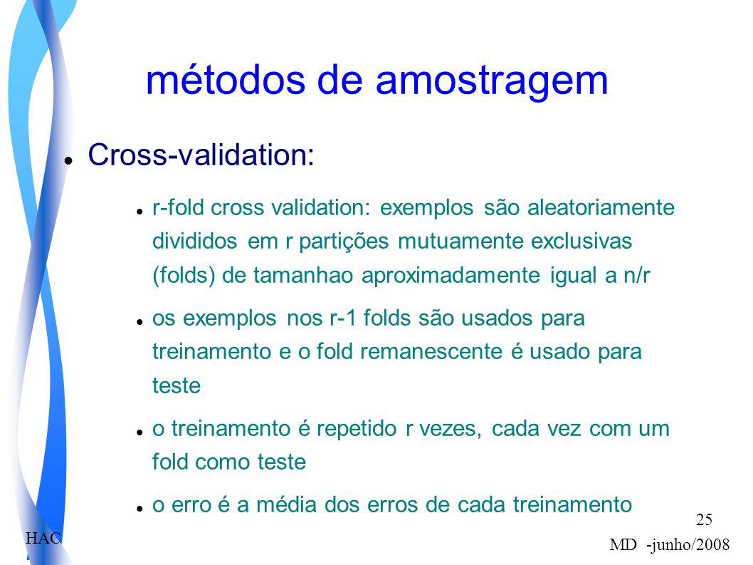 HAC MD -junho/2008 25 métodos de amostragem Cross-validation: r-fold cross validation: exemplos são aleatoriamente divididos em r partições mutuamente exclusivas (folds) de tamanhao aproximadamente igual a n/r os exemplos nos r-1 folds são usados para treinamento e o fold remanescente é usado para teste o treinamento é repetido r vezes, cada vez com um fold como teste o erro é a média dos erros de cada treinamento