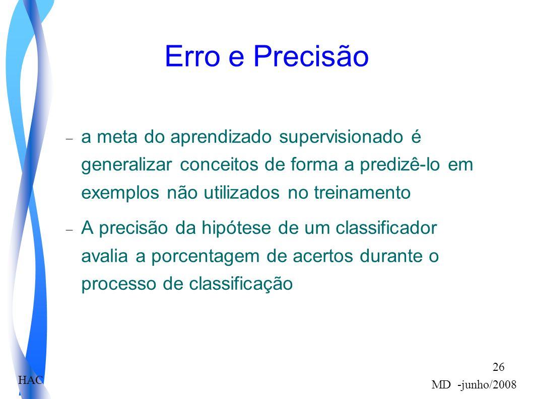 HAC MD -junho/2008 26 Erro e Precisão a meta do aprendizado supervisionado é generalizar conceitos de forma a predizê-lo em exemplos não utilizados no treinamento A precisão da hipótese de um classificador avalia a porcentagem de acertos durante o processo de classificação
