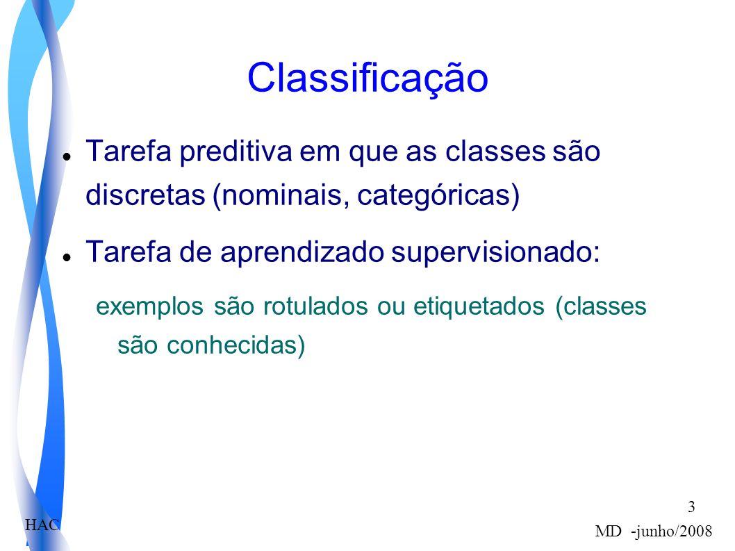 HAC MD -junho/2008 3 Classificação Tarefa preditiva em que as classes são discretas (nominais, categóricas) Tarefa de aprendizado supervisionado: exemplos são rotulados ou etiquetados (classes são conhecidas)