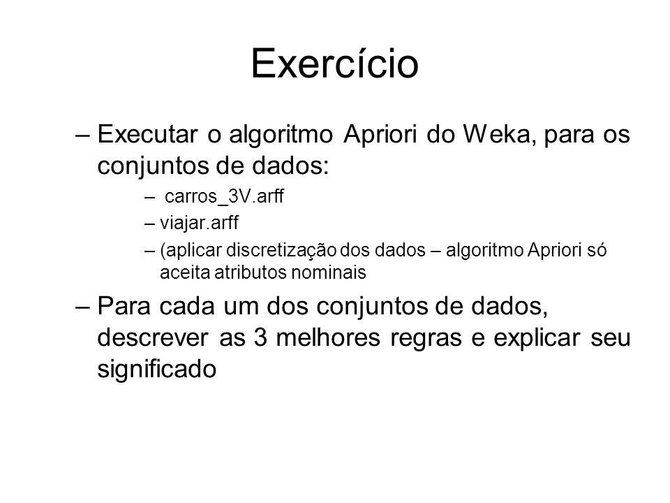 Exercício –Executar o algoritmo Apriori do Weka, para os conjuntos de dados: – carros_3V.arff –viajar.arff –(aplicar discretização dos dados – algoritmo Apriori só aceita atributos nominais –Para cada um dos conjuntos de dados, descrever as 3 melhores regras e explicar seu significado