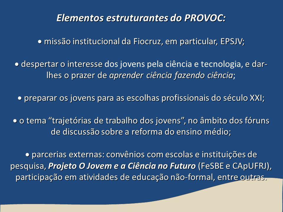 Elementos estruturantes do PROVOC: missão institucional da Fiocruz, em particular, EPSJV; missão institucional da Fiocruz, em particular, EPSJV; despe