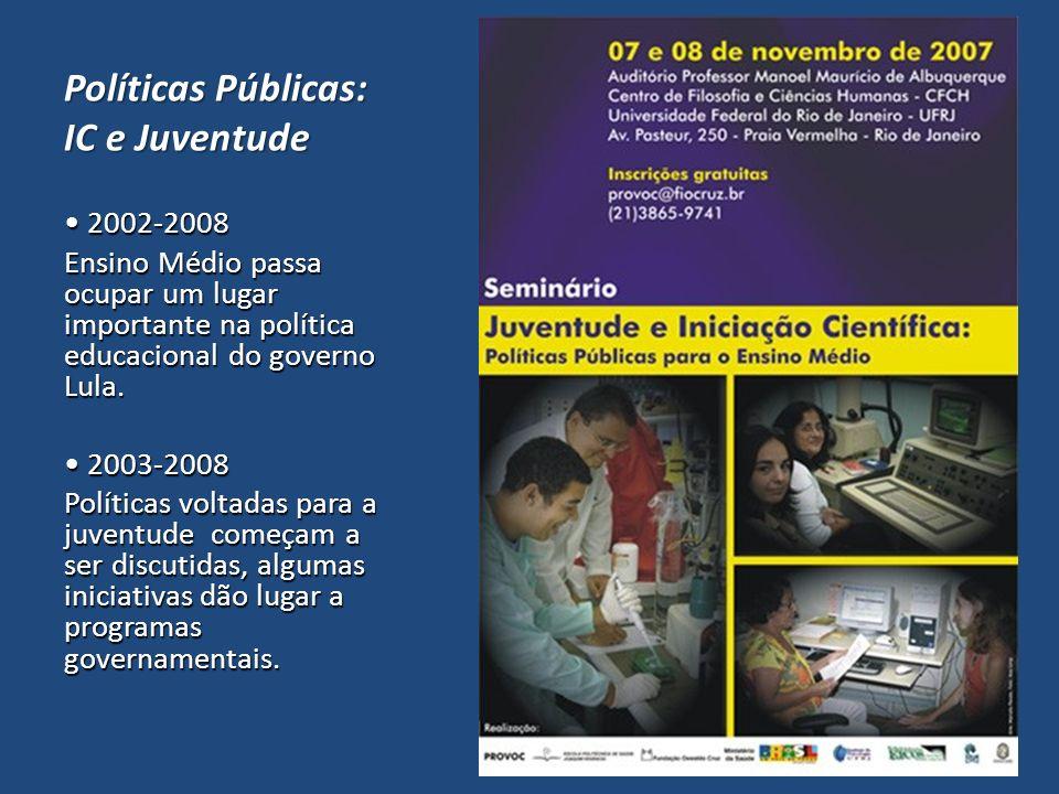 Políticas Públicas: IC e Juventude 2002-2008 2002-2008 Ensino Médio passa ocupar um lugar importante na política educacional do governo Lula. 2003-200
