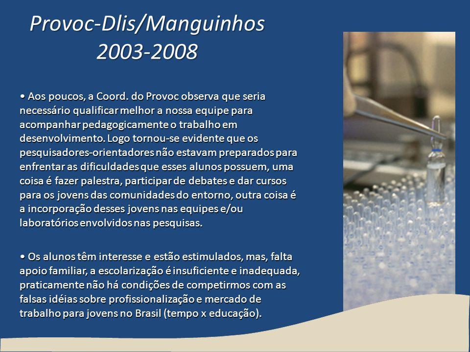 Provoc-Dlis/Manguinhos 2003-2008 Aos poucos, a Coord. do Provoc observa que seria necessário qualificar melhor a nossa equipe para acompanhar pedagogi