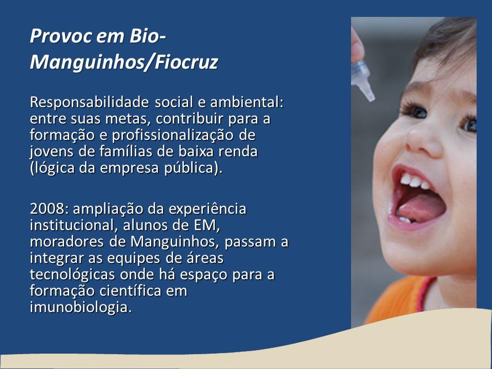 Provoc em Bio- Manguinhos/Fiocruz Responsabilidade social e ambiental: entre suas metas, contribuir para a formação e profissionalização de jovens de