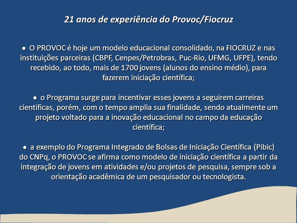21 anos de experiência do Provoc/Fiocruz O PROVOC é hoje um modelo educacional consolidado, na FIOCRUZ e nas instituições parceiras (CBPF, Cenpes/Petr