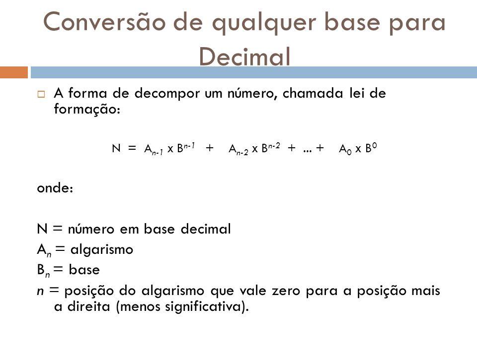 Conversão de qualquer base para Decimal A forma de decompor um número, chamada lei de formação: N = A n-1 X B n-1 + A n-2 X B n-2 +... + A 0 X B 0 ond