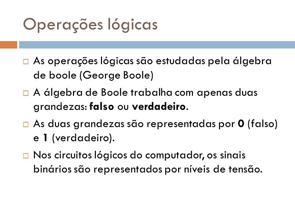 Operações lógicas As operações lógicas são estudadas pela álgebra de boole (George Boole) A álgebra de Boole trabalha com apenas duas grandezas: falso