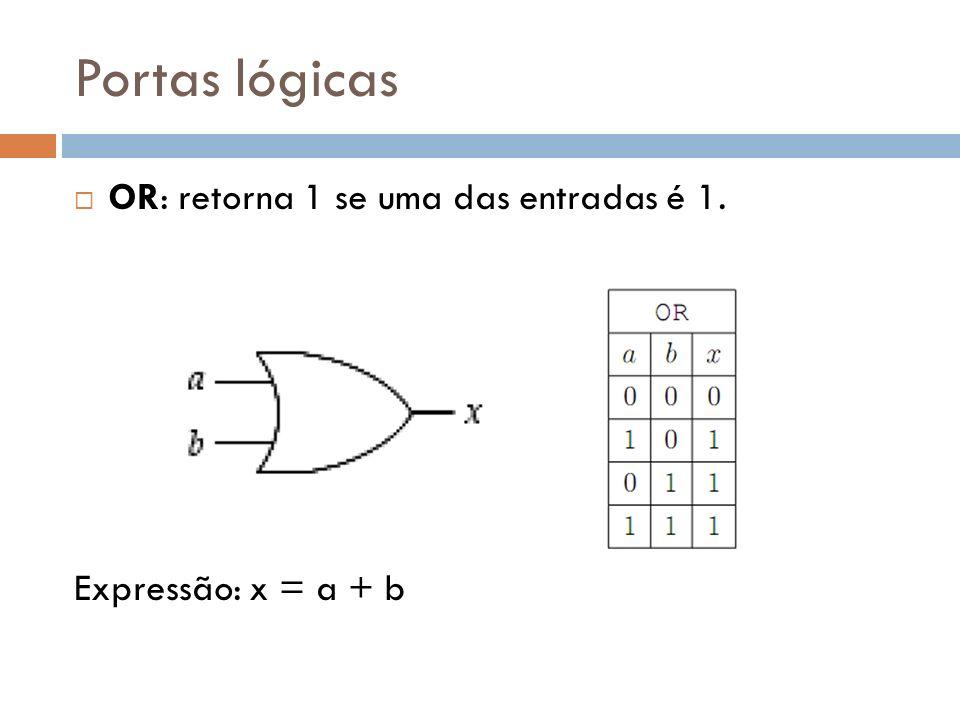 Portas lógicas OR: retorna 1 se uma das entradas é 1. Expressão: x = a + b