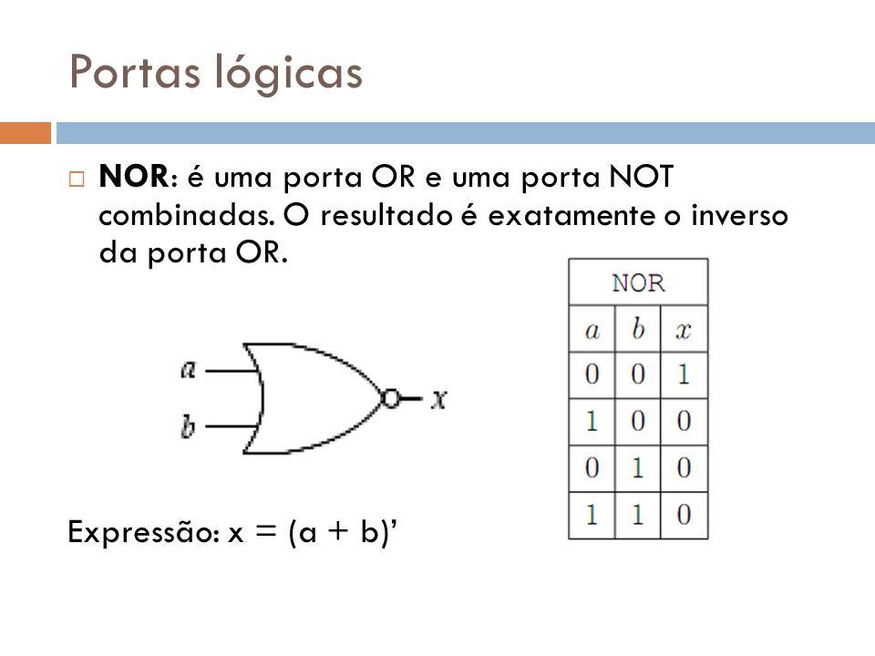 Portas lógicas NOR: é uma porta OR e uma porta NOT combinadas. O resultado é exatamente o inverso da porta OR. Expressão: x = (a + b)