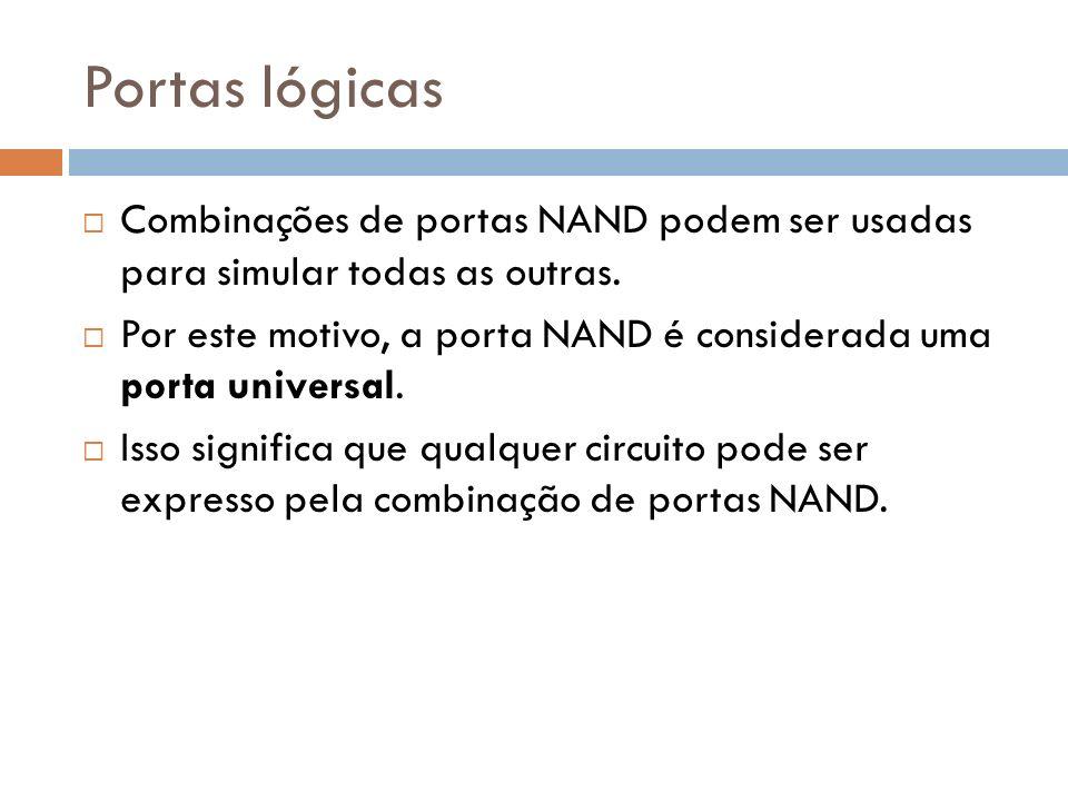 Portas lógicas Combinações de portas NAND podem ser usadas para simular todas as outras. Por este motivo, a porta NAND é considerada uma porta univers