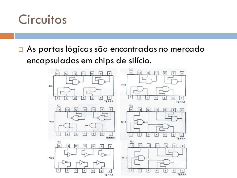 Circuitos As portas lógicas são encontradas no mercado encapsuladas em chips de silício.