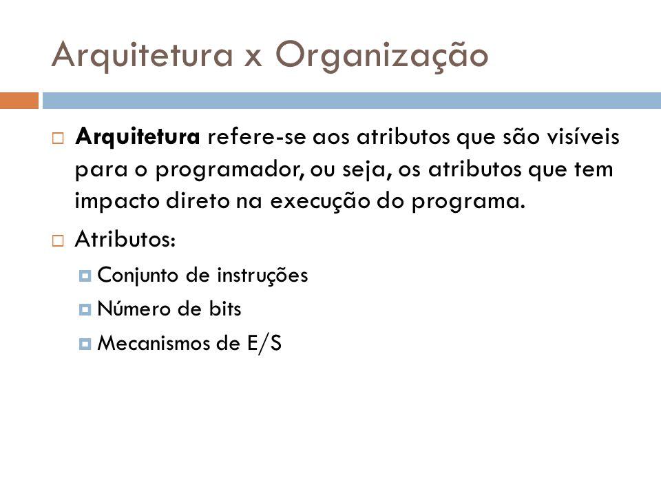 Arquitetura x Organização Organização diz respeito às unidades operacionais e suas interconexões que implementam as especificações de sua arquitetura, ou seja, como as características da arquitetura será implementada.
