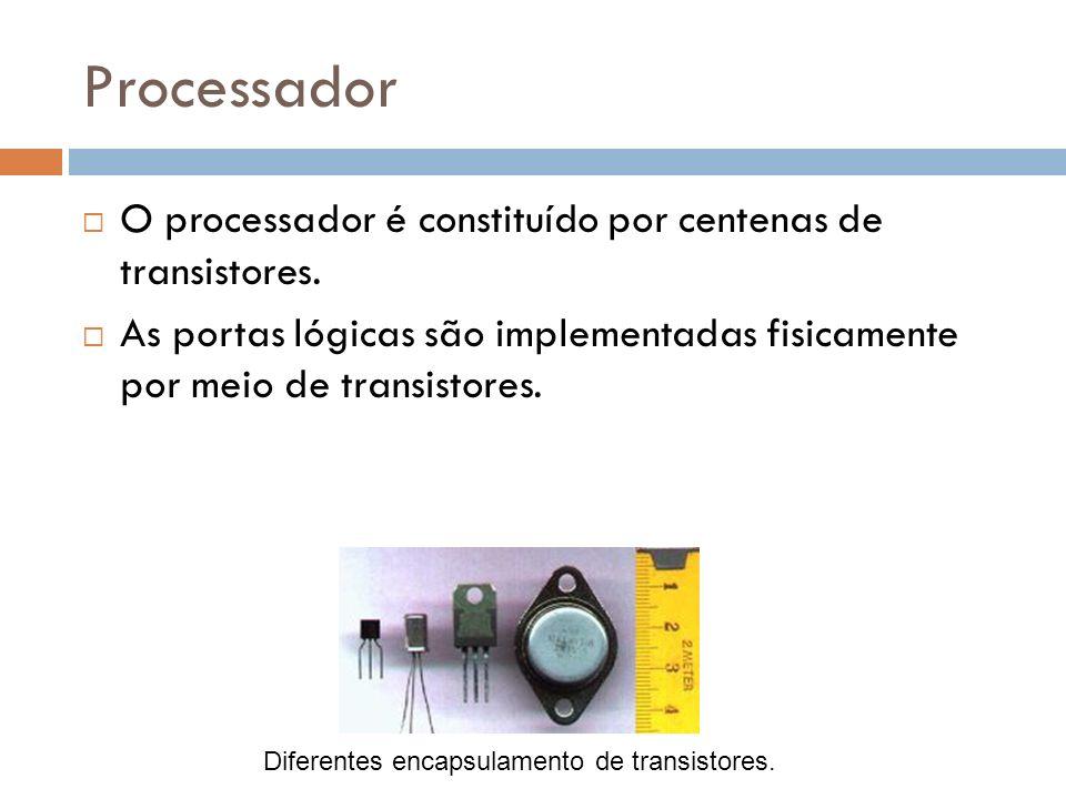 Processador O processador é constituído por centenas de transistores. As portas lógicas são implementadas fisicamente por meio de transistores. Difere
