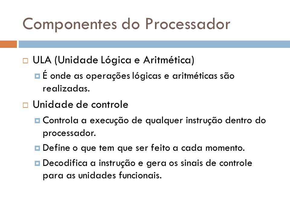 Componentes do Processador ULA (Unidade Lógica e Aritmética) É onde as operações lógicas e aritméticas são realizadas. Unidade de controle Controla a