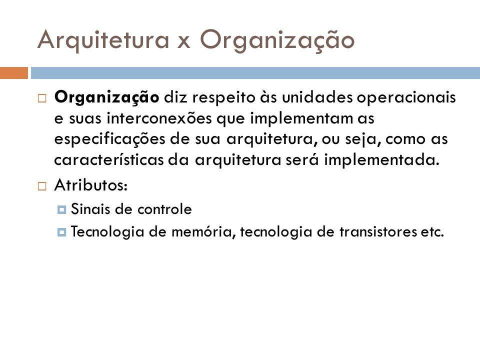 Arquitetura x Organização Organização diz respeito às unidades operacionais e suas interconexões que implementam as especificações de sua arquitetura,
