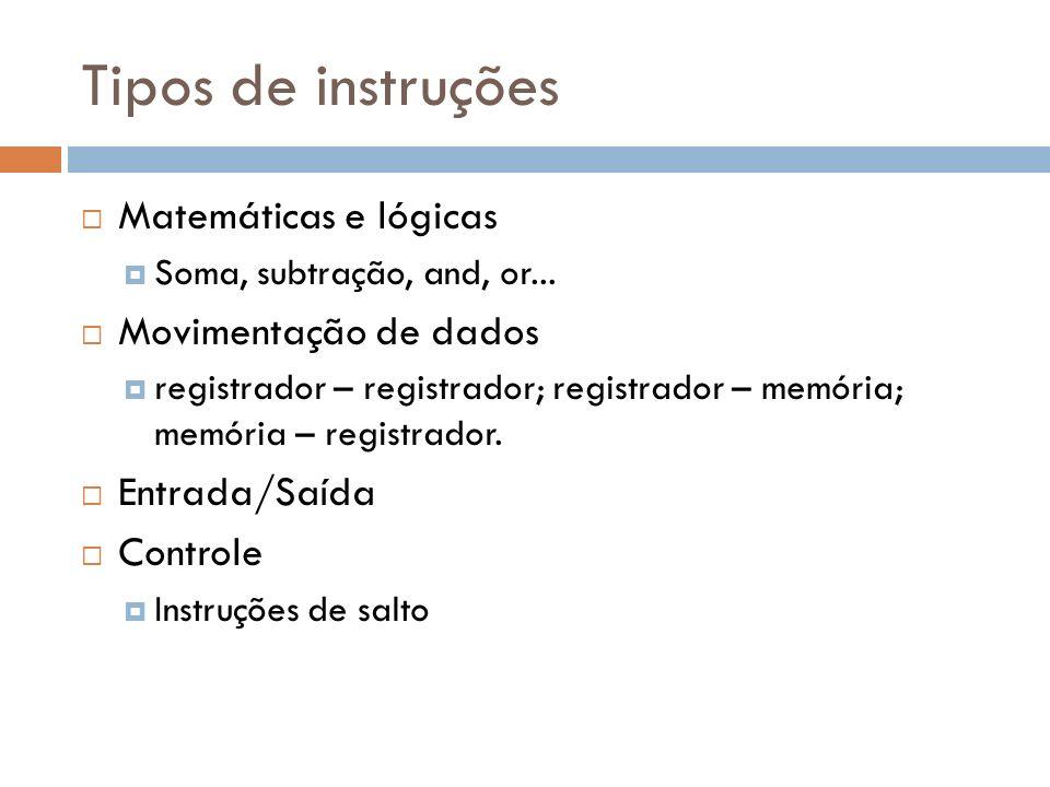 Tipos de instruções Matemáticas e lógicas Soma, subtração, and, or... Movimentação de dados registrador – registrador; registrador – memória; memória