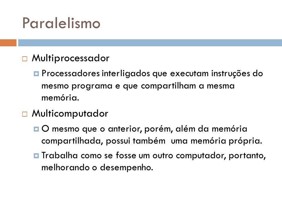 Paralelismo Multiprocessador Processadores interligados que executam instruções do mesmo programa e que compartilham a mesma memória. Multicomputador