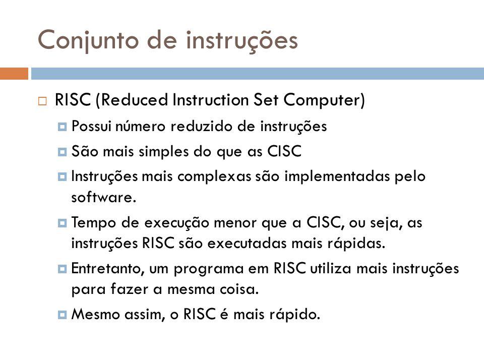 Conjunto de instruções RISC (Reduced Instruction Set Computer) Possui número reduzido de instruções São mais simples do que as CISC Instruções mais co