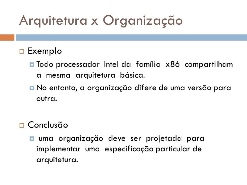 Arquitetura x Organização Exemplo Todo processador Intel da família x86 compartilham a mesma arquitetura básica. No entanto, a organização difere de u