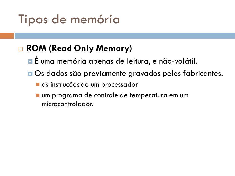 Tipos de memória ROM (Read Only Memory) É uma memória apenas de leitura, e não-volátil. Os dados são previamente gravados pelos fabricantes. as instru