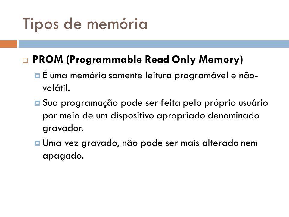 Tipos de memória PROM (Programmable Read Only Memory) É uma memória somente leitura programável e não- volátil. Sua programação pode ser feita pelo pr