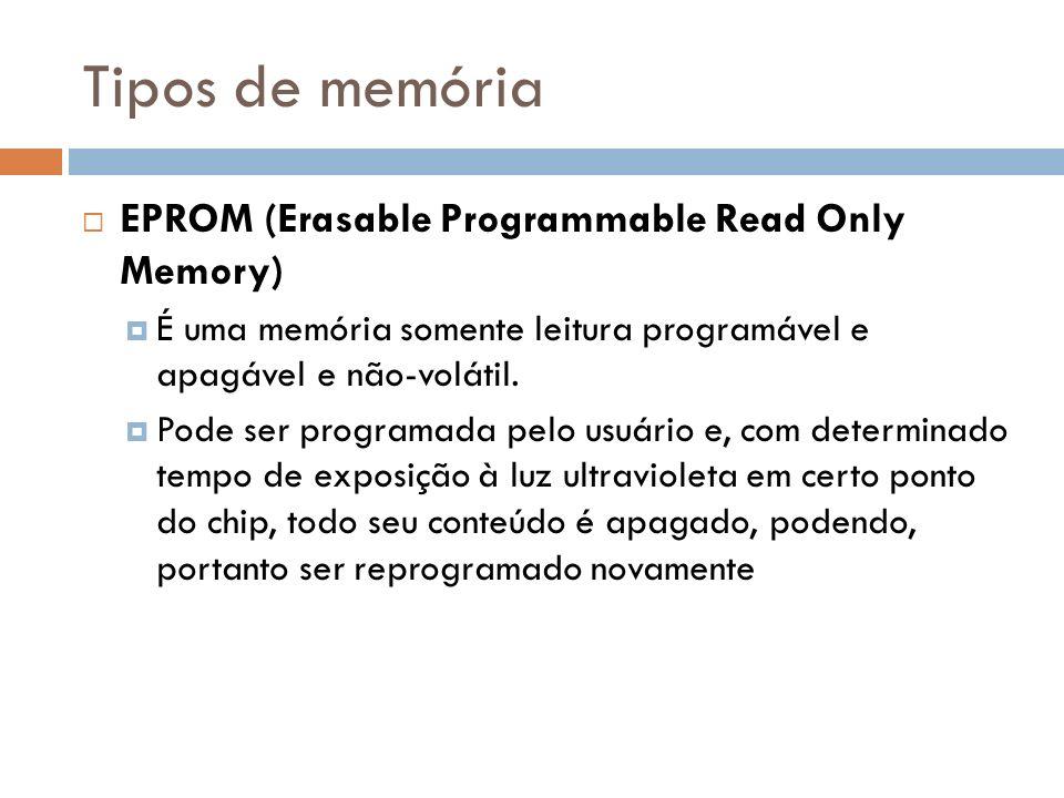 Tipos de memória EPROM (Erasable Programmable Read Only Memory) É uma memória somente leitura programável e apagável e não-volátil. Pode ser programad