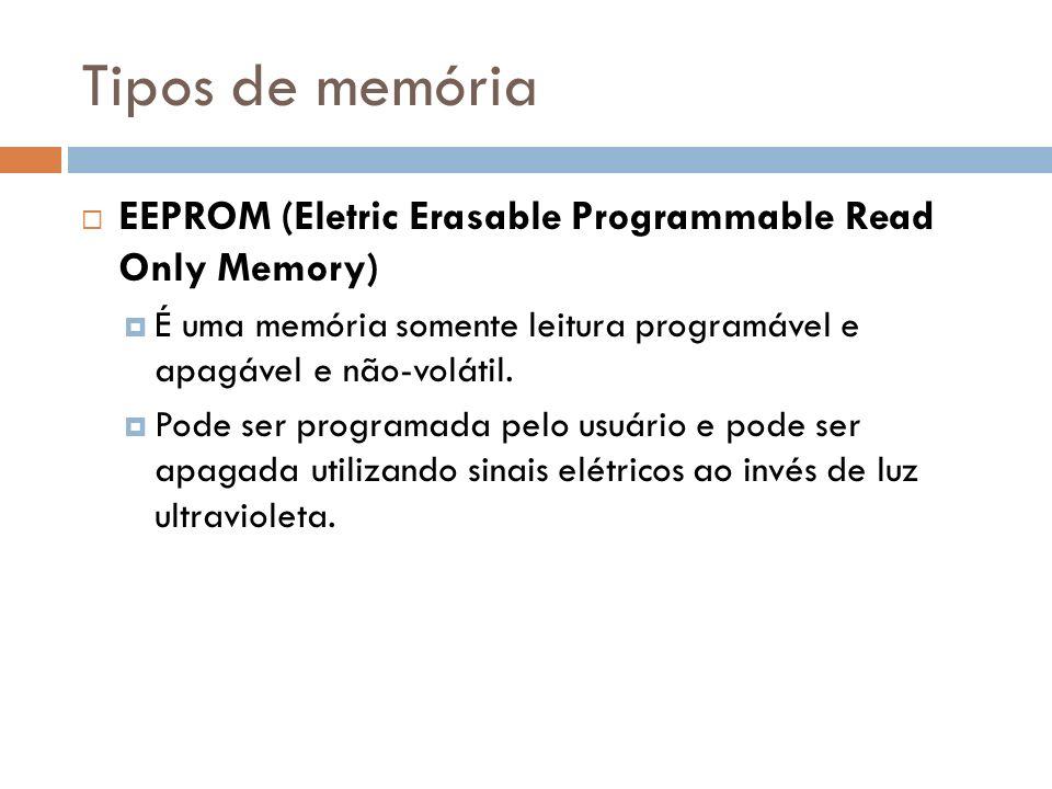 Tipos de memória EEPROM (Eletric Erasable Programmable Read Only Memory) É uma memória somente leitura programável e apagável e não-volátil. Pode ser