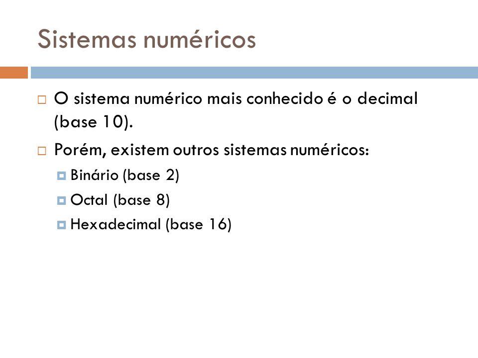 O sistema numérico mais conhecido é o decimal (base 10). Porém, existem outros sistemas numéricos: Binário (base 2) Octal (base 8) Hexadecimal (base 1